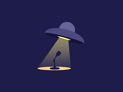 UFO Comedy Show Logo shadow light night branding ufo logotype logo standup