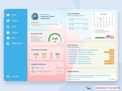Binusmaya Student Dashboard web webdesign pastel color glassmorphism ux ui