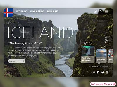 Iceland Web adobe photoshop adobe xd codepen glass glass ui frontend web ui iceland concept website design landing page webdeveloper web design website uiuxdesign uiux glassmorphism design ux ui
