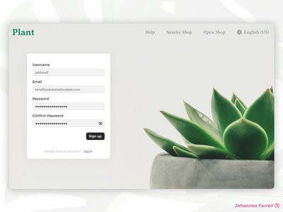 Minimalist Signup Page minimal ui design webdesign website design ui ux figma minimalist website website minimalist green plant authentication login signup concept app uiux design ux ui