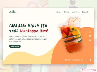 Menantea Landing Page Concept adobe xd web design web web developer website design drink fruit tea website ui design minimalist figma menantea landing page branding concept uiux design ux ui