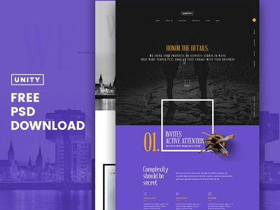 Honor - Unity Free PSD dubai pakistan template ux ui webdesign free pixelzeesh freepsd theme unity