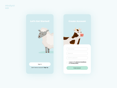 Sign Up. Daily UI: 001 uxui design mobile app design mobile ui mobile app animal signup dailyui dailyui001 uiux uidesign ui