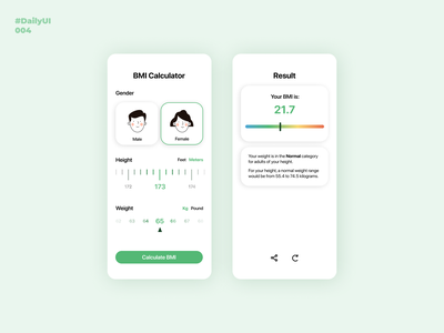 Calculator. Daily UI: 004 illustration dailyuichallenge female male ui  ux design bmi calculator bmi calculator mobile app design mobile design mobile app mobile ui dailyui004 dailyui uiux uidesign ui