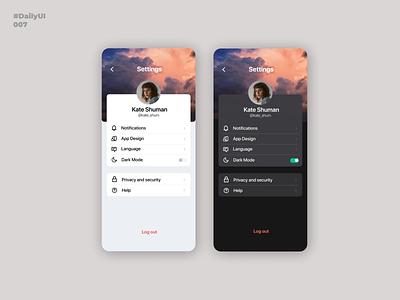 Settings. Daily UI: 007 dark mode settings ui settings setting uiuxdesign design mobile app design mobile app dailyuichallenge dailyui uiux uidesign ui mobile ui