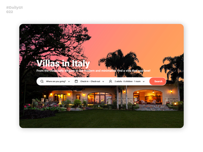 Search. Daily UI: 022 webdesign holiday search villa booking italy dailyui002 dailyui001 dailyui022 daily 100 challenge dailyuichallenge dailyui uiux uidesign