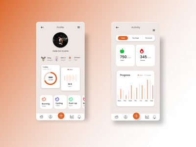 App Fitness and Health ui app typography design branding
