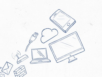 simple illustrations illustration phone mobile rj45 network imac laptop notebook cloud router wall brick mail