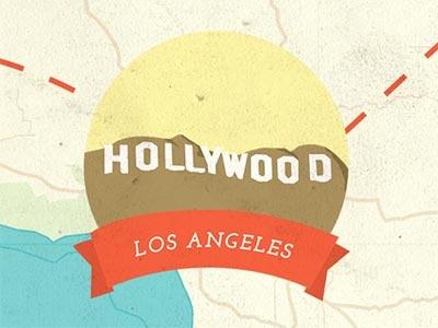 Los Angeles hollywood los angeles la illustration usa map