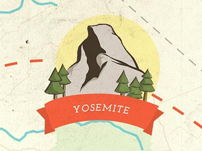 Yosemite yosemite national park illustration usa map half dome