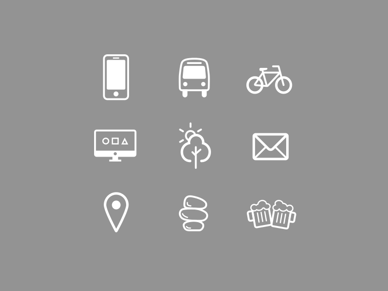 Icons beer zen location sun tree nature computer imac bike transport smartphone icons