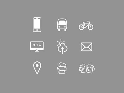 Icons beer zen location sun tree nature computer imac bike transport smartphone icons