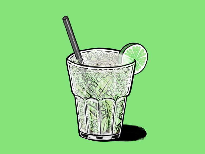 Caipirinha caipi green line illustration cocktail caipirinha