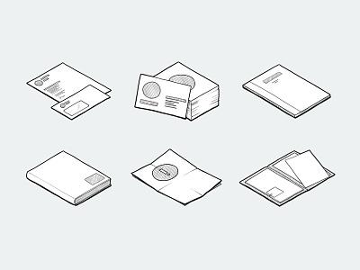 Stationery Icons/Illustrations notepaper letter business cards folder flyer notebook coporate icon illustration