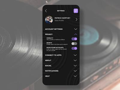 DAILY UI :: 007 settings page settings ui settings app music dailyui ux ui daily ui