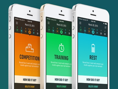 Event UI app icon colour orange green blue iphone ui ux calendar