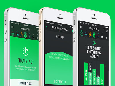 It's Live app fitness ui ux interface iphone green