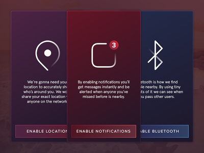 Info Screens app icon red purple blue iphone ui ux ios location notification settings