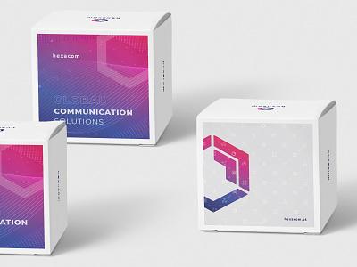 Packaging - Hexacom geometry hexagon pink purple gradient communication box logo branding packaging design packaging