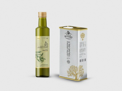 Packaging - Villa do Outeiro glass bottle olives olive tree golden gold green olive branch olive oil food packaging packaging