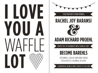 I Love You a Waffle Lot wedding invitation