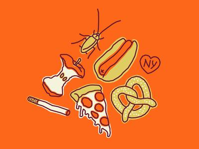 I ☠ NY pizza pretzel cockroach apple hot dog cigarette