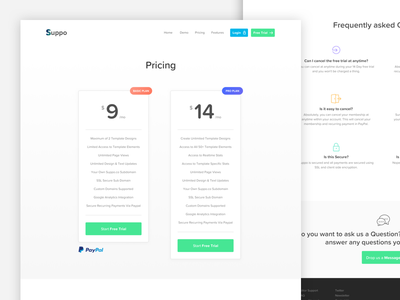 Suppo Pricing Page buttons ui icons columns pricing