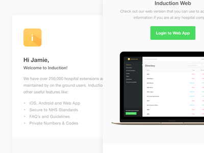 Induction Emails healthcare ui email