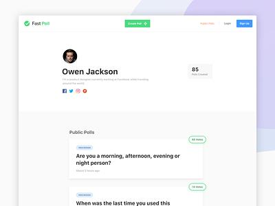 Fast Poll - Profile user profile profile web app ui poll