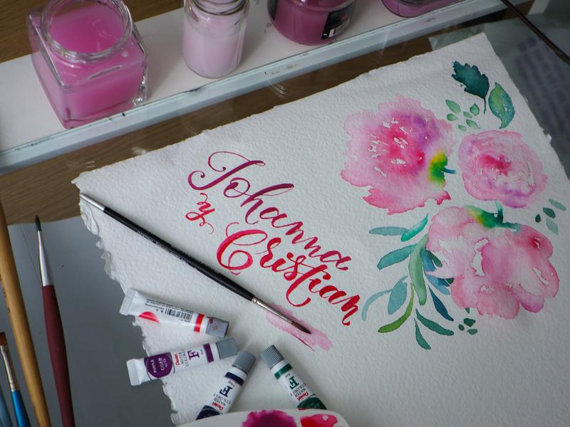 Gouache Wedding brushpen art wedding flower gouache