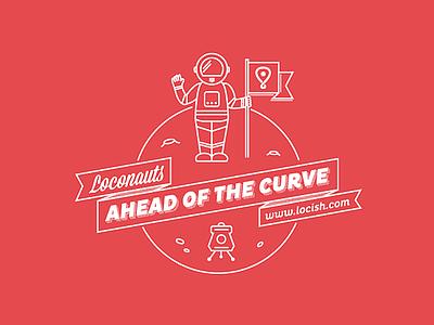 Loconauts: Ahead of the Curve t-shirt space astronaut locish line art illustration