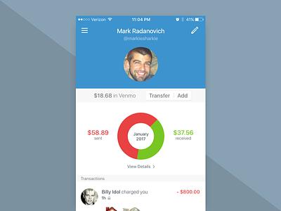 Daily UI 006 - Profile venmo fintech money iphone ios app profile design interface ui daily