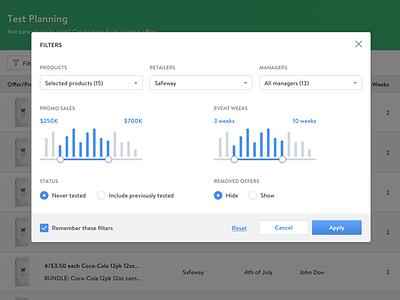 Filter Modal button slider web app dashboard popup widget modal filter