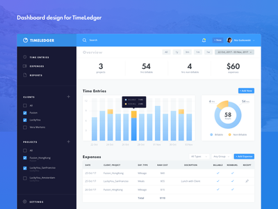 TimeLedger Dashboard graphs blue ux ui admin admin panel dashboard