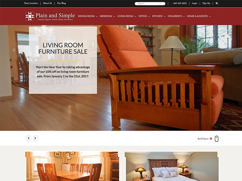 Plain And Simple Amish Furniture Design Ecommerce Webdesign Webpage Ify Website