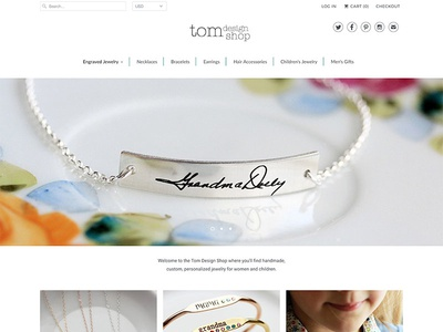 Tom Design Shop custom jewelry design website webdesign ecommerce shopify