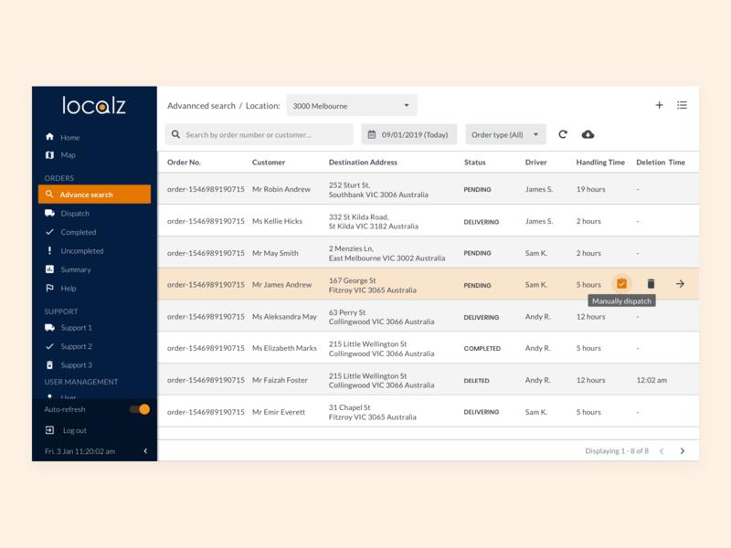 Order List dashboard website design webdesign design guidelines design system ux ui
