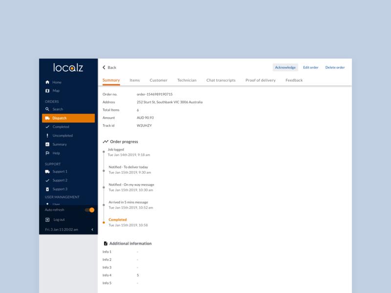 Order details website design localz ux ui dashboard ui dashboard