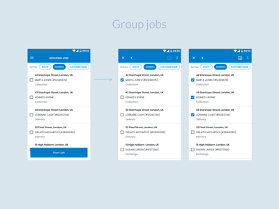 Field Service app - Group job feature mobile ui app design ui design localz ux ui