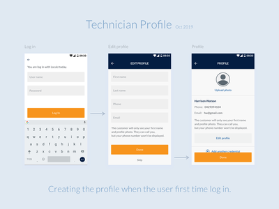 Technician profile features mobile application technician profile technician mobile app design mobile app app design localz ui design ux ui