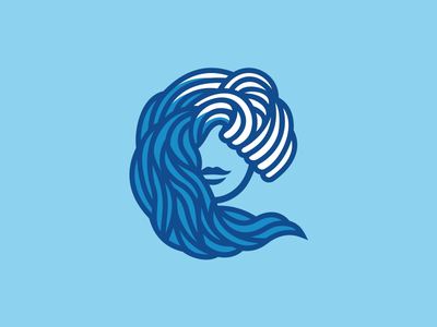 Aqua beauty face sea beauty lady ocean wave aqua logo