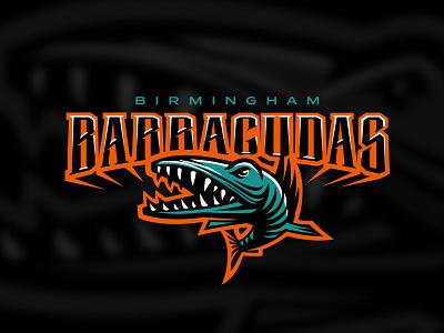 barracudas emblem predator jaws fish birmingham sport logo barracudas
