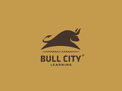 Bull Emblem logo bull city learning animal jump