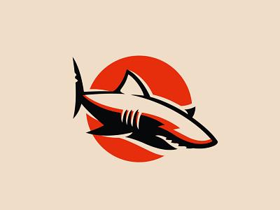 Red shark logo brand emblem logo sun fish jaws predator shark