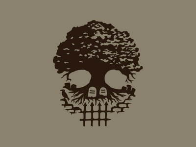 Death tree symbol illustration logo graves oak cemetery skull tree death