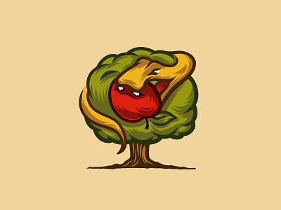 Serpent Tempter Logo branding graphic design illustration tempter sin apple tree logo serpent snake