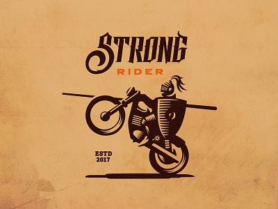 Strong rider motorcycle bike restaurant illustration mark emblem logo rider knight