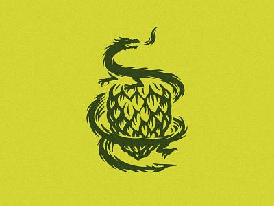 Hop Dragon logo craft beer brand illustration emblem logo snake dragon hop