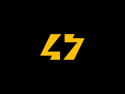 47 lightning negative space logo electric number ambigram 47 lightning