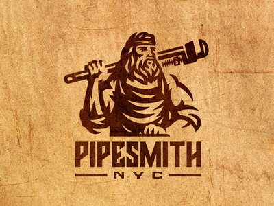PipeSmithNyc mark worker adjustable wrench emblem plumber engraving logo negative space bearded man nyc pipe smith